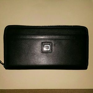 New Lodis Black Leather Zip Around Clutch Wallet